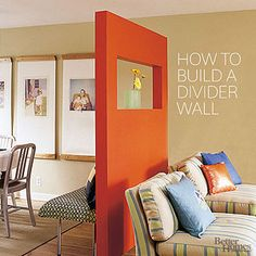 How To Build a Freestanding Divider Wall (notice the bottom - it's not actually an attached wall, but you could do it without the cutout and hang regular shelves on this.)