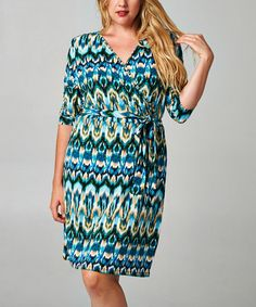 Another great find on #zulily! Black & Green Ikat Surplice Dress - Plus by Christine V #zulilyfinds