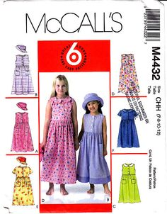 McCall's 4432 - Girls Loose-fitting Dress Hat Pattern 7-12 New