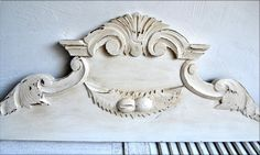 Large Antique French Carved Wooden Pediment by shabbyfrenchvintage