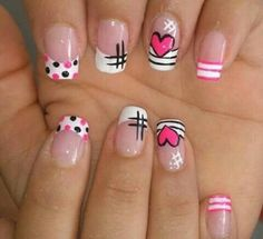 nail art para amor y amistad Love Nails, Pretty Nails, Fun Nails, Shellac Nails, Acrylic Nails, Girls Nails, Cute Nail Art, French Nails, Manicure And Pedicure