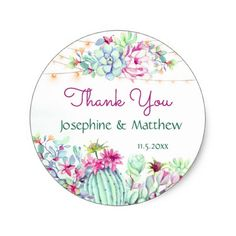 Cactus Succulents String Lights Wedding Thank You Classic Round Sticker - sticker stickers custom unique cool diy Cactus Stickers, Round Stickers, Cactus Wedding, Floral Wedding, Classic Showers, Wedding Thank You, Wedding Pins, Wedding Decor, Wedding Stickers