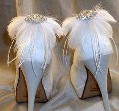 Wedding Bridal Feathered Shoe Clips  set of 2  by ShoeClipsOnly