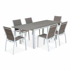Pour 6 personnes. Structure en aluminium, coloris blanc. Plateau en ...