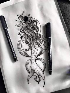 sketch - tattoo - - My most beautiful tattoo list Dream Tattoos, Badass Tattoos, Hot Tattoos, Future Tattoos, Body Art Tattoos, Small Tattoos, Mermaid Sleeve Tattoos, Mermaid Tattoo Designs, Tattoo Sketches