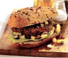 (Médio) Hambúrguer de lentilhas e quinoa com molho de manga