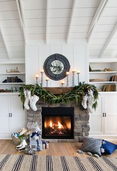 White Rustic Christmas Mantel