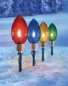 Giant Holiday Bulbs Garden Path Light Stakes- Set of 4