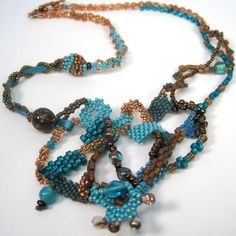 Turquoise and Copper Freeform Necklace  $46.00