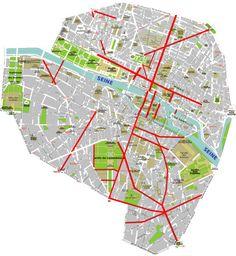 Cette carte montre ( en rouge ) le travail de rue d'Haussmann entre 1850 et 1870