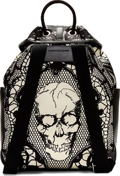 Alexander McQueen Black & Ivory Leather Lace Skull Print Backpack