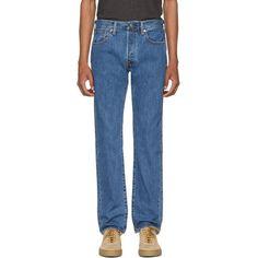 Levis Blue 501 Original Fit Jeans (590 NOK) ❤ liked on Polyvore featuring men's fashion, men's clothing, men's jeans, blue, mens button fly jeans, mens straight leg jeans, mens blue jeans, mens patched jeans and levi mens jeans