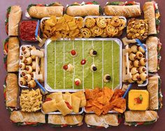Football food tray from Bon Appettite magazine