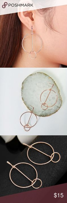 New! Rose Gold Dainty Hoop Earrings NWT boutique item. Trend Alert 2017: All things HOOPS. The perfect twist on a classic style. These cuties are a stud hoop earring in Rose gold featuring a modern design. Material: Alloy.  Plastic Back Post Included. Measurement: 3.4 cm diameter, 5.5 cm length Jewelry Earrings