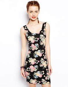 New Look Floral Mini Bodycon Dress