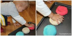 Playdough is great. I like to put it on a tray or cutting board to contain the mess. I love playdough because kids can be creative and it al...