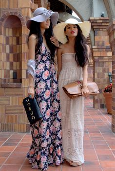 hats + spring dresses= great look!