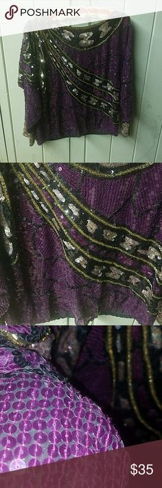 Vintage Jack Bryan sequins blouse No size listed but I would guess it should fit a large. Beautuful! In great condition for age. Tops Blouses