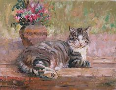 Cat Nap, oil on panel, 14 x 11, by Janet Greco