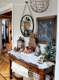 Stunning farmhouse Christmas decorations in a historic fixer upper home - lots of DIY inspiration and creative ideas for Christmas home decor Christmas Room, Merry Little Christmas, Outdoor Christmas, Simple Christmas, Family Christmas, Christmas Projects, All Things Christmas, Christmas Holidays, Apartment Christmas