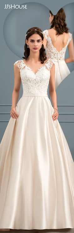 5c5d56da99 Ball-Gown V-neck Court Train Satin Wedding Dress  JJsHouse  Wedding dresses