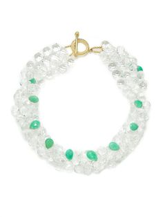 Rock Crystal & Chrysoprase Teardrop Double Strand Collar Necklace from Jewelry Box: Splurge-Worthy Pieces on Gilt