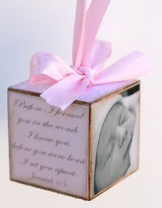 Personalized Pink Birth Announcement Photo Baby Block Shower Gift Girl Nursery Decor. $22.00, via Etsy.