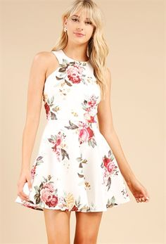 Lace-Up Floral Flare Dress