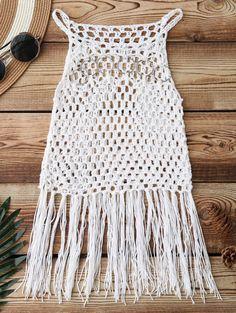Fringed Crochet Cover Up - White One Siz - Diy Crafts Free Crochet, Knit Crochet, Diy Crochet Cover Up, Crochet Stitches, Crochet Patterns, Dress Patterns, Macrame Dress, Crochet Fringe, Crochet Clothes