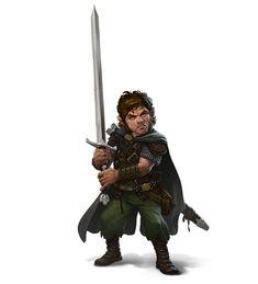 m Halfling Ranger Med Armor 2 Handed Sword Cloak midlvl