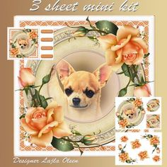 Chihuahua by Lajla Olsen Makes a 8x8 inch cardfrnt with decoupage. Included:-decoupage,sentiments,one tag,one mini cardfront,3 sheets to print.Enjoy:)