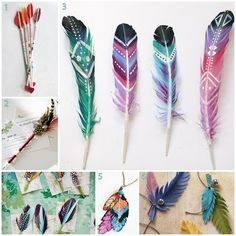 Looking for some cool DIY ideas and easy crafts for adults to make? We have 50 fun adult crafts and DIYs, easy craft ideas you are sure to enjoy making. Feather Painting, Feather Art, Bird Feathers, Diy Painting, Painted Feathers, Colorful Feathers, Coloured Feathers, Feather Symbolism, Ruffled Feathers