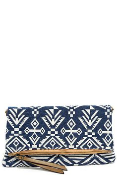 18f5deed17 Chic Blue and White Clutch - Print Clutch - Fold Over Clutch - Blue and  White