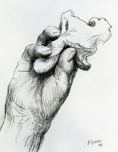 Henry Moore, Hand Holding Bone 1981 HMF ballpoint pen, conté crayon (rubbed) on Cotman white handmade wove 258 x photo: The Henry Moore Foundation archive A Level Sketchbook, Artist Sketchbook, Abstract Sculpture, Sculpture Art, Metal Sculptures, Bronze Sculpture, Henry Moore Drawings, A Level Art, Sketch A Day
