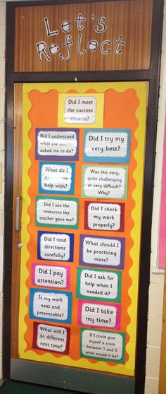 Let's Reflect Door Display: Self Assessment and Evaluation by nichole Teaching Displays, Class Displays, Learning Goals Display, Primary School Displays, Assessment For Learning, Formative Assessment, Student Self Assessment, Learning Objectives, Year 4 Classroom