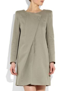 Wonderful lines.  Asymetrical cotton quill coat by Bruno.