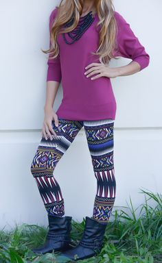 Tribal Print Leggings | SexyModest Boutique so cute but with taller boots
