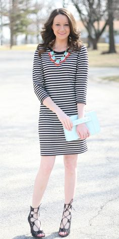 black and white stripes with lace up heels - www.lovelucygirl.com