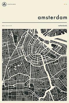 Amsterdam Map, City Map Poster, Map Design, City Maps, Map Art, Illustrations, Wall Prints, Planer, Travel Portland