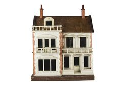 A G & J Lines for Gamages No 5 Dolls' House, painted cream with gold lining, half glazed front Antique Dollhouse, Antique Dolls, Miniature Houses, Miniature Dolls, Four Rooms, Brass Plaques, Dormer Windows, Doll Houses, Miniatures