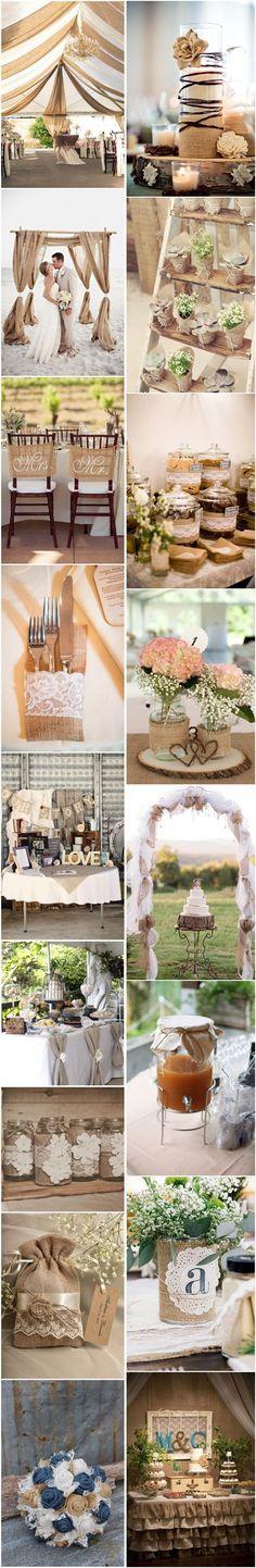 Chic-Rustic Burlap Wedding Decor Ideas / http://www.deerpearlflowers.com/50-chic-rustic-burlap-and-lace-wedding-ideas/3/