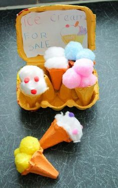 Egg Carton Ice Cream Cones - In The Playroom - We learn through PLAY! - Egg carton ice cream cones summer craft for kids - Toddler Crafts, Preschool Crafts, Kids Crafts, Summer Crafts For Kids, Diy For Kids, Holiday Activities, Activities For Kids, Indoor Activities, Literacy Activities