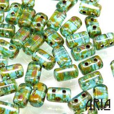 AQUA TRAVERTINE Rulla TwoHole Czech Glass Seed by AriaDesignStudio, $2.45