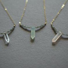 Image of Gemstone spike necklace with labradorite