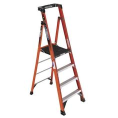 Werner 10 ft. Reach Fiberglass Podium Ladder with 300 lb. Load Capacity Type IA Duty Rating (Comparable to 6 ft. Stepladder)-PDIA04 - The Home Depot