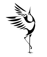 Illustration of stylized image of the dancing cranes isolated on a white background. vector vector art, clipart and stock vectors. Bird Stencil, Stencil Art, Realistic Pencil Drawings, Art Drawings, Crane Drawing, Heron Tattoo, Crane Tattoo, Crane Bird, Bird Silhouette