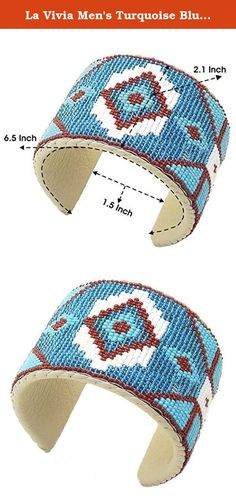 La Vivia Men's Turquoise Blue Brown Cuff Bracelet Leather Cowboy Western B41/4. TURQUOISE BLUE BROWN BEADWORK CUFF BRACELET LEATHER COWBOY WESTERN UNISEX B41/4, Beaded Cuff Bracelet beautifully hand beaded one bead at a time with small size 11/0 Seed Beads.
