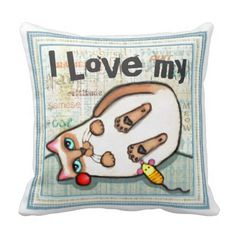 Custom Siamese Cat Lovers Throw Pillow