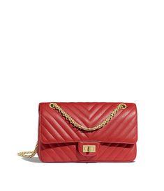afa193b40032 Grained Calfskin   Gold-Tone Metal Red 2.55 Handbag