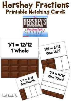 Have a yummy math lesson with Hershey Fractions printable cards. You can use real candy bars to make it the most fun!
